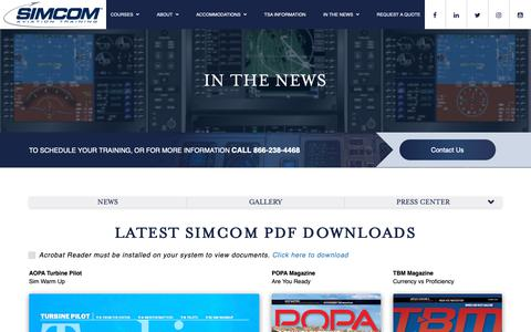 Screenshot of Press Page simulator.com - In the News, SIMCOM, Aviation Training, Simulator Training | SIMCOM Aviation Training - captured Oct. 18, 2018