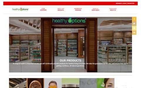 Screenshot of Products Page healthyoptions.com.ph - Products | Healthy Options - captured Dec. 9, 2015