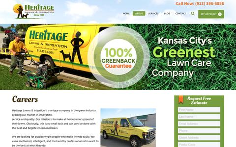 Screenshot of Jobs Page heritagelawnskc.com - Lawn Care Jobs in Kansas City, Careers in Lawn Care | Heritage Lawns - captured Nov. 7, 2016