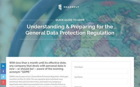 Screenshot of Landing Page smashfly.com - SmashFly's Guide to GDPR - captured Feb. 8, 2019