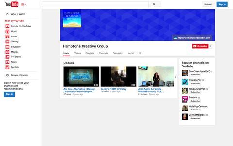 Screenshot of YouTube Page youtube.com - Hamptons Creative Group  - YouTube - captured Oct. 22, 2014