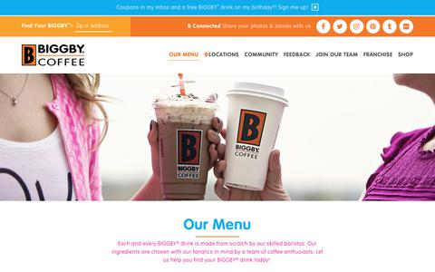Screenshot of Menu Page biggby.com - BIGGBY® COFFEE Menu- Check out the complete BIGGBY® menu - captured Oct. 9, 2017