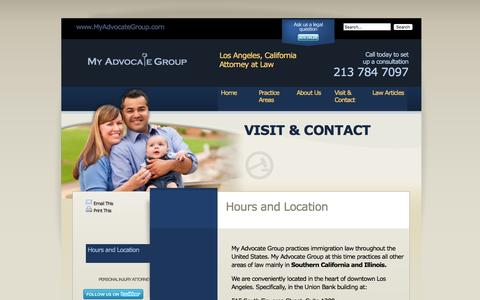 Screenshot of Maps & Directions Page Hours Page myadvocategroup.com - Hours and Location | My Advocate Group | Los Angeles Immigration Lawyer - captured Jan. 12, 2016