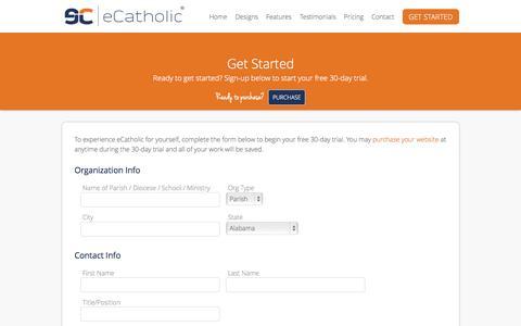 Screenshot of Trial Page ecatholicwebsites.com - Catholic Website Design Free 30-Day Trial :: eCatholic - eCatholic.com - captured June 19, 2015