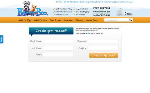 Screenshot of Signup Page baxterboo.com - BaxterBoo - captured Sept. 13, 2014