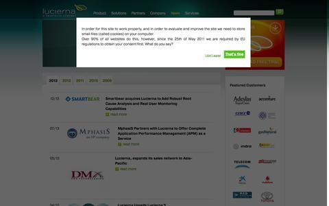 Screenshot of Press Page lucierna.com - Web Application Performance Management - APM - Lucierna - captured Sept. 16, 2014