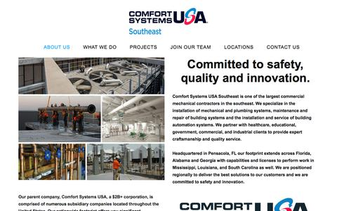 Screenshot of About Page csusasoutheast.com - About Us - Comfort Systems USA SE - captured July 13, 2019