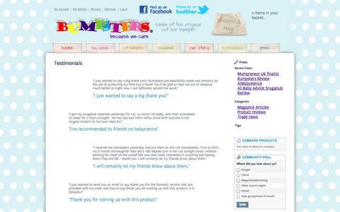 Screenshot of Testimonials Page bumpsters.co.uk - Testimonials - captured Oct. 5, 2014