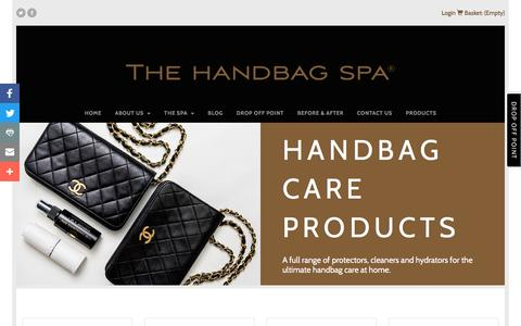 Screenshot of Products Page thehandbagspa.com - Handbag Care Products - The Handbag Spa - captured Nov. 30, 2016