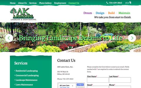 Screenshot of Contact Page ak-lawncare.com - Contact AK Lawn Care Inc | Milan, MI - captured Oct. 6, 2017
