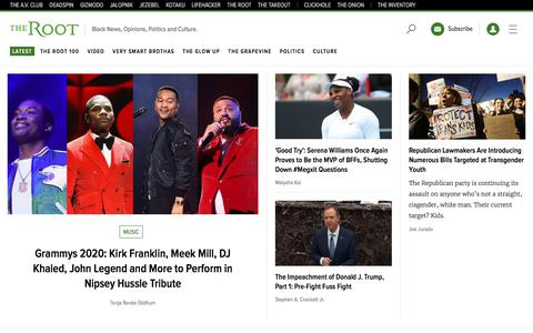 Screenshot of Home Page theroot.com - The Root | Black News, Opinions, Politics and Culture. - captured Jan. 22, 2020