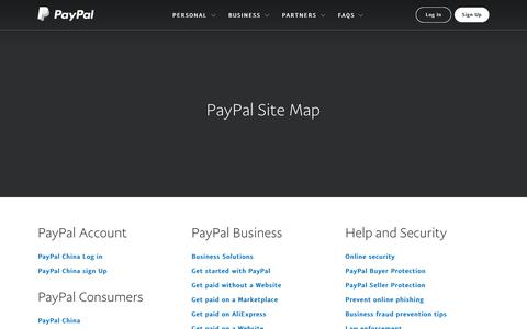 Screenshot of Site Map Page paypal.com - Sitemap - PayPal China - captured Oct. 7, 2018
