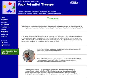 Screenshot of Testimonials Page peakpotentialtherapy.com - Client Testimonials Speech Therapy - captured Jan. 26, 2016