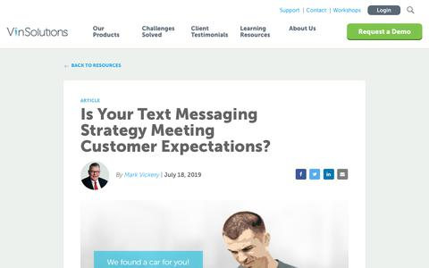 Screenshot of Blog vinsolutions.com - VinSolutions - Your Text Messaging Strategy Meeting Expectations? - captured Dec. 3, 2019