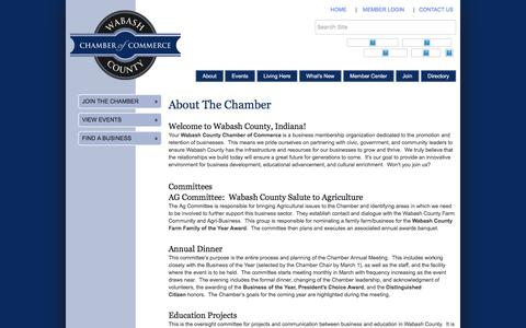 Screenshot of About Page wabashchamber.org - About Us - Wabash County Chamber of Commerce, IN - captured Nov. 28, 2016