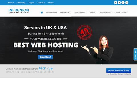 Screenshot of Home Page infrenion.com - Unlimited Website Hosting   UK Web Hosting Services : Infrenion.com - captured Jan. 28, 2015