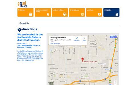 Screenshot of Maps & Directions Page gradreach.com - Gradreach - Jobs for Recent Grads in Houston - captured Dec. 7, 2015
