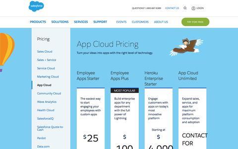 Screenshot of Pricing Page salesforce.com - Editions & Pricing - App Cloud - Salesforce.com - captured March 9, 2017