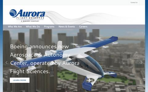 Screenshot of Home Page aurora.aero - Aurora Flight Sciences – Apply autonomy and robotics to the development, production, and operation of advanced aircraft. - captured Oct. 4, 2018