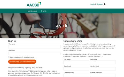 Screenshot of Login Page aacsb.edu - Sign In - captured June 9, 2019