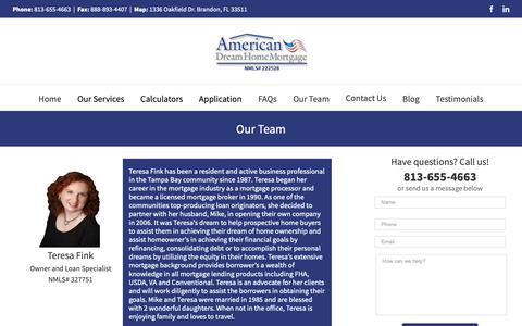 Screenshot of Team Page floridabestlending.com - American Dream Home Mortgage | Team - captured Oct. 3, 2018