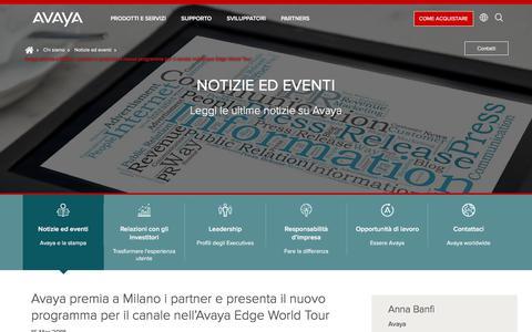 Screenshot of Press Page avaya.com - Avaya premia a Milano i partner e presenta il nuovo programma per il canale nell'Avaya Edge World Tour - captured May 3, 2018