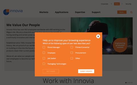 Screenshot of Jobs Page innoviafilms.com - Innovia Films - Careers - captured July 12, 2017