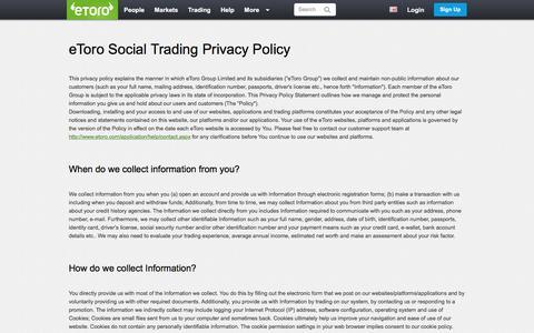 Screenshot of Privacy Page etoro.com - eToro Social Trading Privacy Policy | eToro - captured June 17, 2016