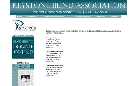 Screenshot of Contact Page keystoneblind.org captured Oct. 6, 2014