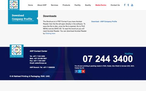 Screenshot of Press Page anps.ae - Al Nakheel Printing & Packaging. Ras Al Khaimah. United Arab Emirates. Leading Printing press company offers commercial printing, offset printing, digital printing, screen printing for public and private sector organisations in Rak, Dubai, Abudhabi,  - captured Nov. 20, 2016