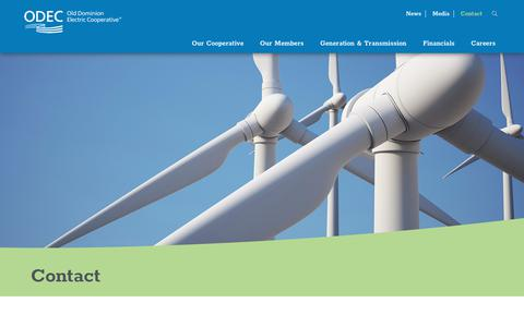 Screenshot of Contact Page odec.com - Contact Old Dominion Electric Cooperative (ODEC) - captured June 18, 2018