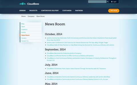 Screenshot of Press Page cloudbees.com - News Room | CloudBees - captured Oct. 28, 2014