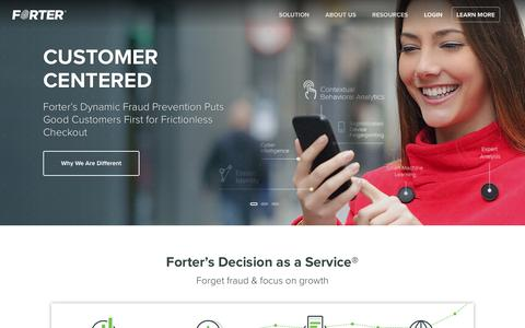 Screenshot of Home Page forter.com - Forter | Fraud Protection & Detection Service for E-Commerce Sites - captured Sept. 24, 2016