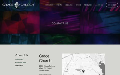 Screenshot of Contact Page grace-efc.org - Contact Us — Grace Church - captured Sept. 30, 2018