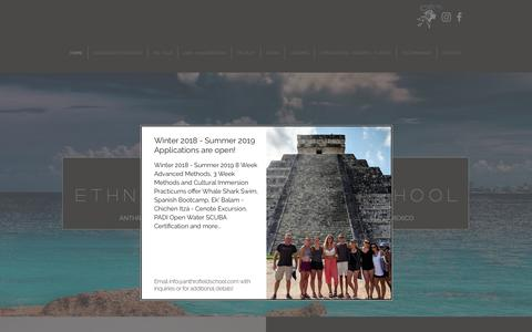 Screenshot of Home Page anthrofieldschool.com - Isla Mujeres Ethnographic Fieldschool - captured Oct. 12, 2018