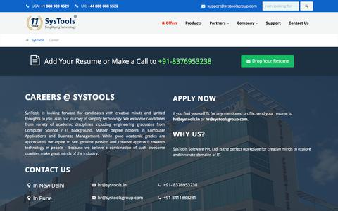 Screenshot of Jobs Page systoolsgroup.com - Careers & Jobs at SysTools Software – Interview Questions & Pattern for Recruitment - captured Sept. 22, 2018