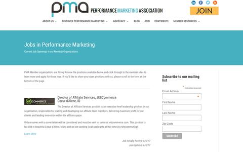 Screenshot of Jobs Page thepma.org - Jobs | The PMA - captured June 29, 2017