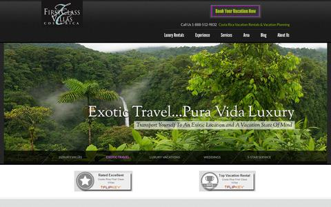 Screenshot of Home Page costaricafirstclassvillas.com - Manuel Antonio Vacation Rentals| Costa Rica Luxury Vacation Villas - captured Sept. 30, 2014