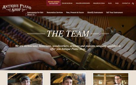 Screenshot of Team Page antiquepianoshop.com - The Team | Antique Piano - captured Sept. 19, 2014