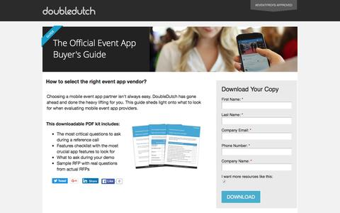 Screenshot of Landing Page doubledutch.me - The Official Event App Buyer's Guide - captured June 21, 2016