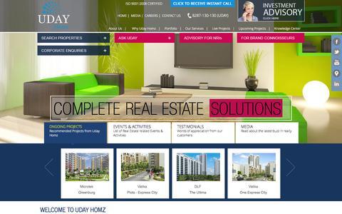 Screenshot of Home Page udayhomz.com - Gurgaon Realtors & Real Estate Consultancy Company Gurgaon - Uday Homz - captured Sept. 22, 2014
