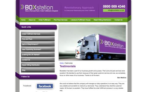Screenshot of Testimonials Page boxstation.co.uk - Read Our Testimonials   What Our Client Write for us - captured Sept. 30, 2014