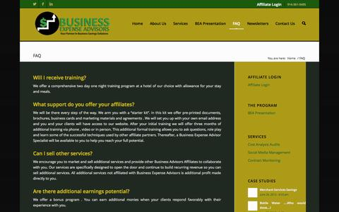 Screenshot of FAQ Page businessexpenseadvisors.com - Business Expense Advisors l FAQ | Business Expense Advisors - captured Sept. 30, 2014