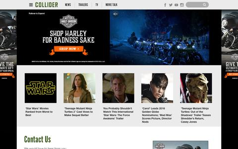 Screenshot of Contact Page collider.com - Contact Us | - captured Dec. 10, 2015