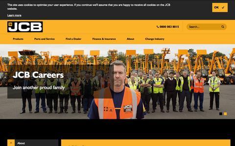 Screenshot of Jobs Page jcb.com - JCB Careers - captured Dec. 30, 2016