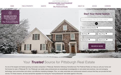 Screenshot of Home Page thepreferredrealty.com - Pittsburgh PA Real Estate and Homes for Sale    Berkshire Hathaway HomeServices The Preferred Realty - captured Jan. 21, 2016