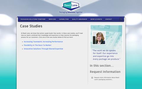 Screenshot of Case Studies Page reedlane.com - Pharmaceutical Contract Packaging | Case Studies | Reed-Lane | Reed-Lane - captured Nov. 5, 2014