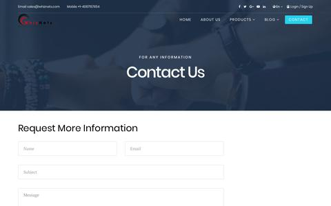 Screenshot of Contact Page whiznets.com - WhizNets Internet of Things, Artificial Intelligence, Machine Learning Solutions - Contact - captured March 10, 2018