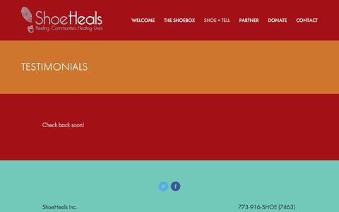 Screenshot of Testimonials Page shoeheals.org - Testimonials — ShoeHeals - captured July 8, 2018