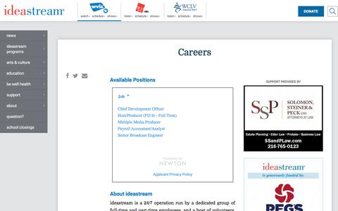 Screenshot of Jobs Page ideastream.org - Careers | WVIZ/PBS ideastream - captured Jan. 15, 2018